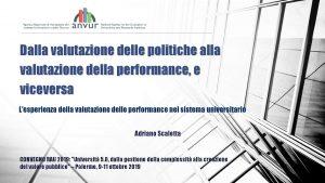 Dalla valutazione delle politiche alla valutazione della performance