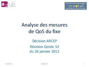 Analyse des mesures de Qo S du fixe