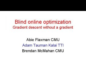 Blind online optimization Gradient descent without a gradient