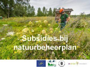 Subsidies bij natuurbeheerplan Subsidies bij natuurbeheerplan Besluit van