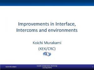 Improvements in Interface Intercoms and environments Koichi Murakami