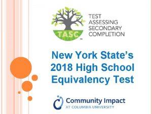New York States 2018 High School Equivalency Test