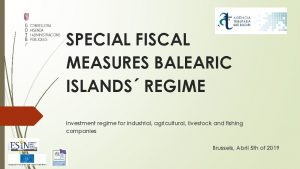 SPECIAL FISCAL MEASURES BALEARIC ISLANDS REGIME Investment regime