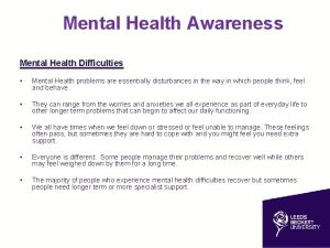 Mental Health Awareness health Awareness Mental Health Difficulties