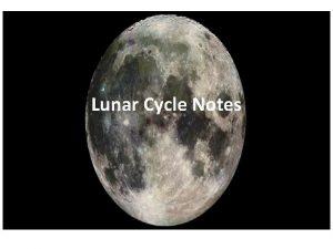 Lunar Cycle Notes Rotation vs Revolution Rotation spin