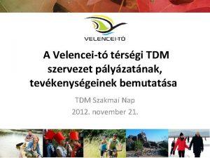 A Velenceit trsgi TDM szervezet plyzatnak tevkenysgeinek bemutatsa